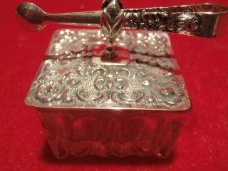 Antike Süßstoffdose Kristall Mit Silber Deckel Von Albo Mit Zange 835er Silber Bild