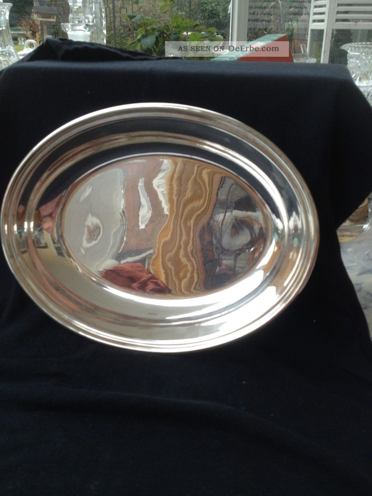 Ovale Servierschale Schale Schüssel Silberschale Silver Plated Marked Hb&hs Objekte vor 1945 Bild
