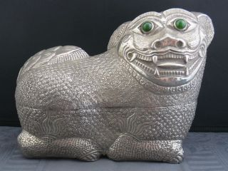 Schöne Alte Silber Figur/dose Mit Jade - Augen China Ca Um 1900 Hund / Drache Bild