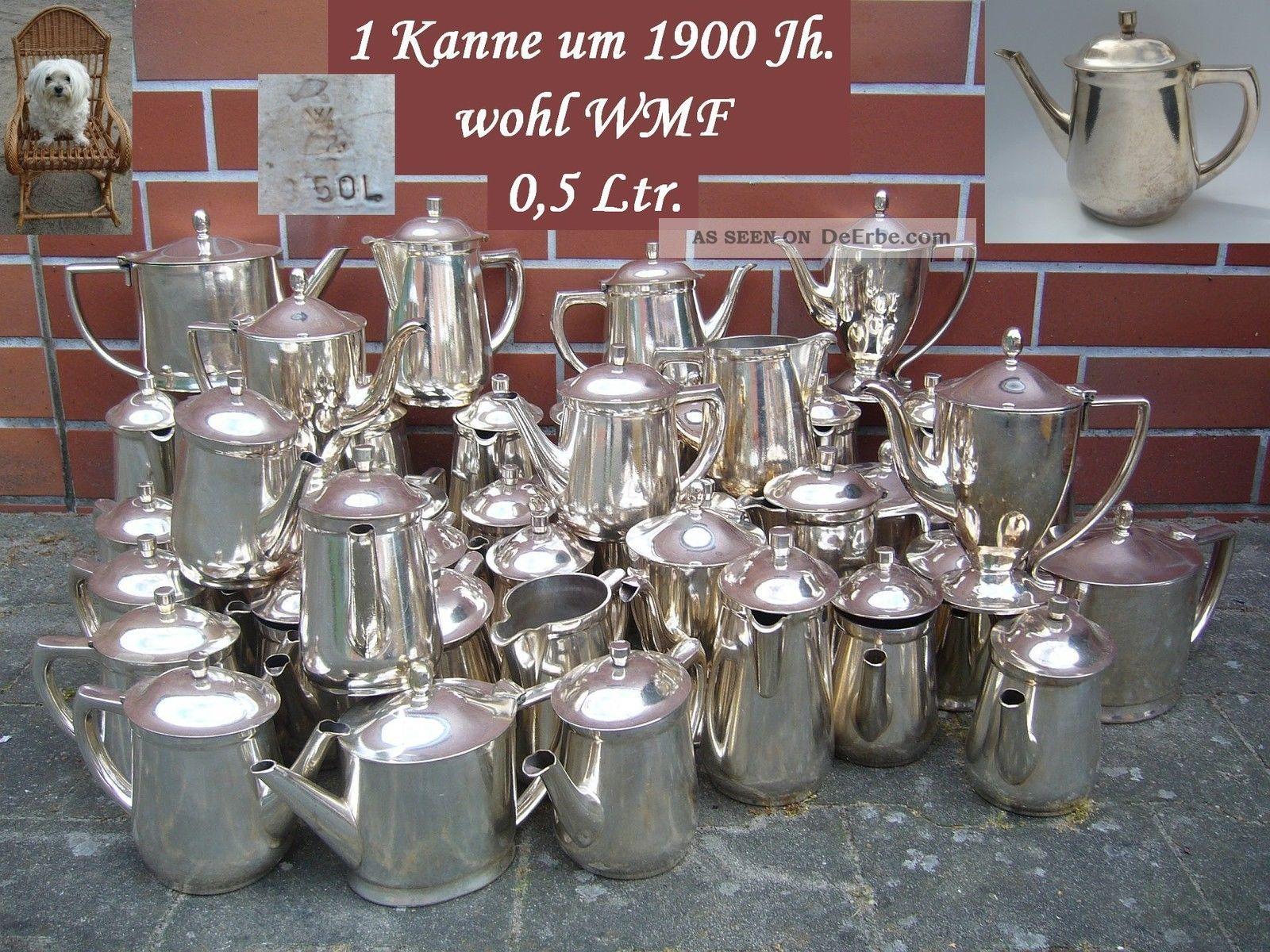 1 Tee Kanne Kaffeekanne 500 Ml.  Hotelsilber 600 G Versilbert Wmf ? Jugendstil Objekte vor 1945 Bild