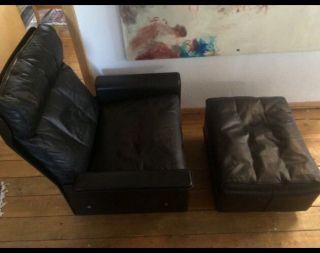 Vitsoe Lounge Chair Schwarz Mit Fußhocker Dieter Rams Schöner Modell 620 Bild