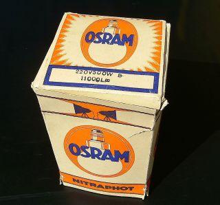 Osram Nitraphot Alte Funktionstüchtige Photolampe E 27 In Ovp 500 Watt Bild