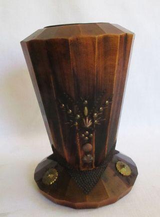 Art Déco Alte Vase Aus Massiv Holz Mit Metall Verzierungen Zum Teil Geschnitzt Bild
