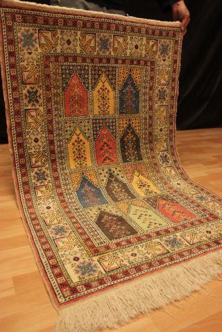Alter Seidenteppich Felder Kayseri Flos - Seide Orient Teppich Silk 136x88cm 5077 Bild