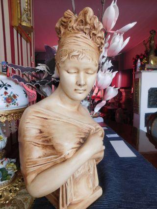 Jugenstil Büste Mädchenfigur Shabby Chic Frauenbüste Vintage Bild
