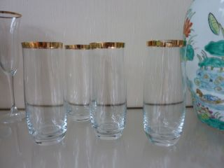4 Trinkgläser Mit Goldrand,  Aber Gut,  Italy Bild