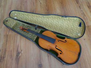 Alte Violine Geige 4/4 Zettel Compagnon Mit Geigenbogen Lupot Bild