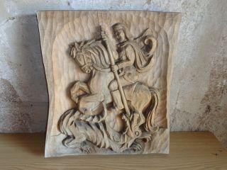 Schönes Geschnitztes Bild Heiligen Georg Bild