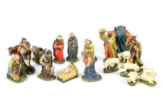 Alter Satz Krippenfiguren Mit Kamel Und Treiber Stuck Gips Sign.  H.  W.  D. Bild