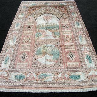 Orient Teppich Seidenteppich 196 X 129 Cm Perserteppich Seide Silk Carpet Rug Bild