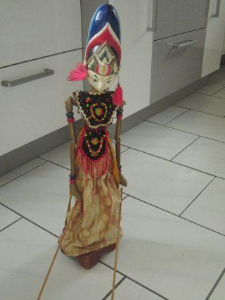 Alte Marionette Figur Puppe Theater Handarbeit Alt Aus Bali Selten 65 Cm Ständer Bild