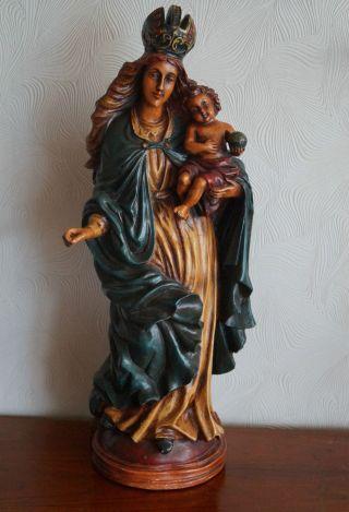 Antike Figur Heilige Maria Mit Jesuskind Mutter Gottes H.  70 Cm Statue Pappmache Bild