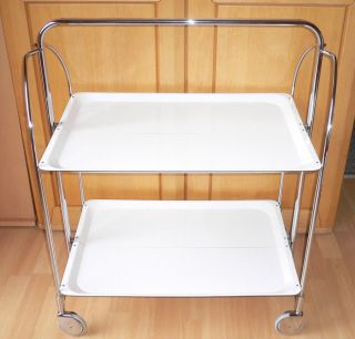 Dinett In Weiß Teewagen Servierwagen Beistelltisch Grilltisch 60/70er Bild