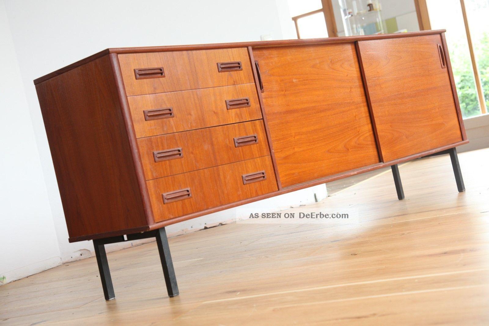 60er 50er danish modern sideboard credenza teak vodder for Sideboard 50er 60er
