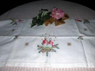 Weihnacht Tischdecke,  Läufer,  Mitteldecke,  Stickerei 100 Baumwolle & Hadarbeit Bild