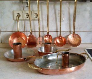 Kupfer Messing Küchengeschirr,  12 Teile,  Tiegel,  Bräter,  Kelle Bild