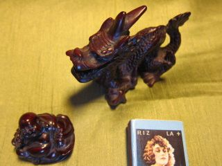 China: Süßer Drache,  10x 7,  5 Cm,  & Buddha,  Melamin,  Mahagonifarbig,  Schutz,  GlÜck Bild