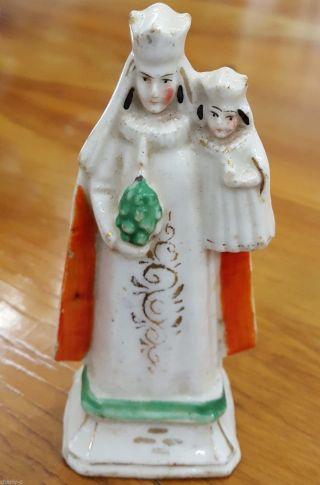 Alte Porzellan Heiligenfigur Maria Mit Dem Jesuskind Handbemalt Bild