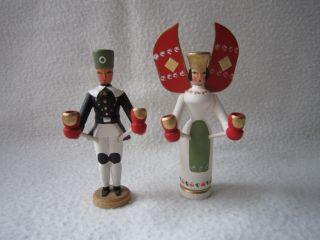 2 Miniatur Figuren Engel Bergmann Lichterengel Walter Werner Seiffen Erzgebirge Bild