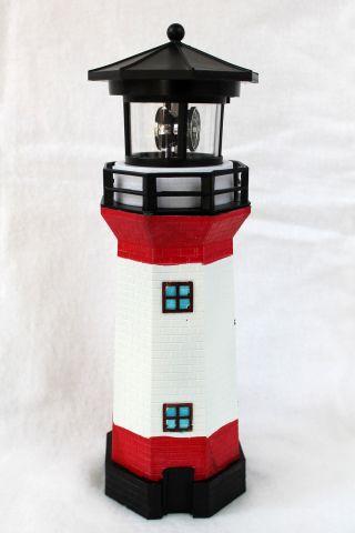 Solar Leuchtturm Rot - Weiss Rotierendes Led - Licht 28 Cm Bild
