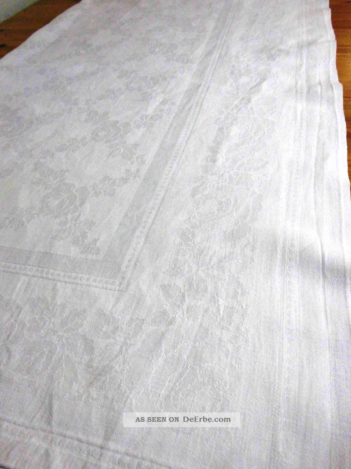 alte damast tischdecke wei einwebmuster rosen 124 x. Black Bedroom Furniture Sets. Home Design Ideas