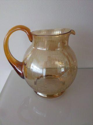 Glaskrug Saftkrug Wasserkrug /mundgeblasen / Ausgekugelt /irisierend Bild