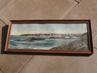 Küstenansicht V.  Biarritz Maritim Druck Wandbild Dekoration Antik Ca.  1910 Bild