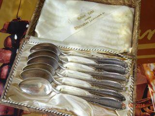 Auflage Besteck 6 Esslöffel Homag 100 Er Silberauflage Löffel Box. Bild