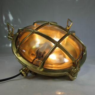 Schiffslampe Maschinenraumlampe Schutzgitter Messing Decklampe KajÜten Lampe Bild