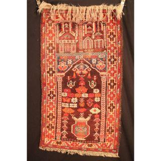 Alter Handgeknüpfter Orient Teppich Belutsch Art Deco Old Carpet Tapis 130x74cm Bild