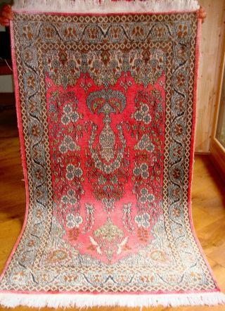 Alter Orientteppich Seltenes Muster Wolle Mit Seide Bild