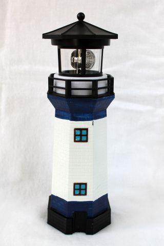 Solar Leuchtturm Blau - Weiss Rotierendes Led - Licht 28 Cm Bild