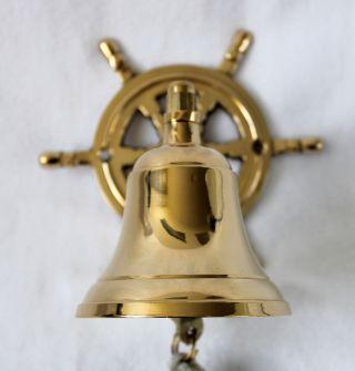 Messing Glocke Mit Steuerrad - Wandhalterung Glocke Ø 7,  5cm Ca.  400g Bild