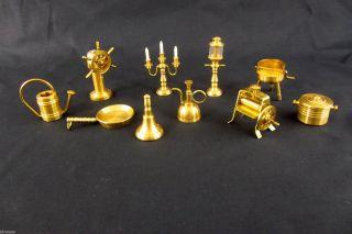 Alte Messing Miniaturen Setzkasten 10 Teile Puppenstube Glocke Grill Pfanne Bild