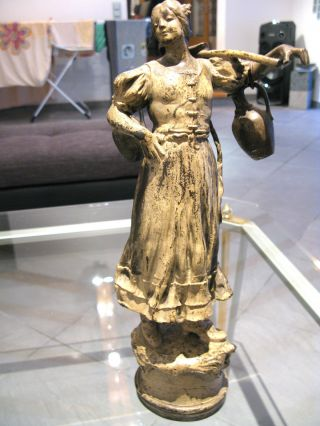 Antike Bronze Figur Wasserträgerin Signiert Roudin ???? Rodin ???? Bild