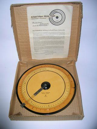 1949 K.  E.  Tröger Rechenscheibe Karton Gebrauchsanleitung Bild