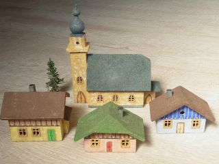 4 Häuser Alt M Kirche Wohnhäuser Spur Tt Modellbahn Holz Dorf Seiffen Erzgebirge Bild