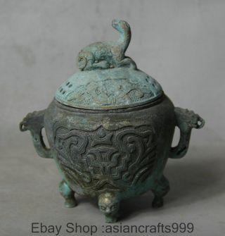 Alte Qianlong Markierte Bronze Antique Pixiu Beast Räuchergefäss Censer Griff Bild