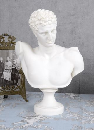Alabaster Figur Adonis Marmor Büste Antike Männerkopf Exclusiv Bild
