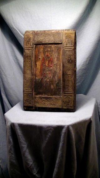 Alte Ikone,  Holz,  Metall Beschläge,  Bronze Oder Messing,  Antik Bild