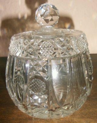 Antik Schleuderstern Blei Kristall Schale Schüssel Dose Deckel Rund Bonboniere Bild