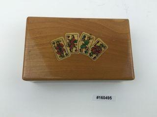 Alte Spielkartenkiste Etui Holz Kartenmotive,  Altenburger Kartenspiel 160495 Bild