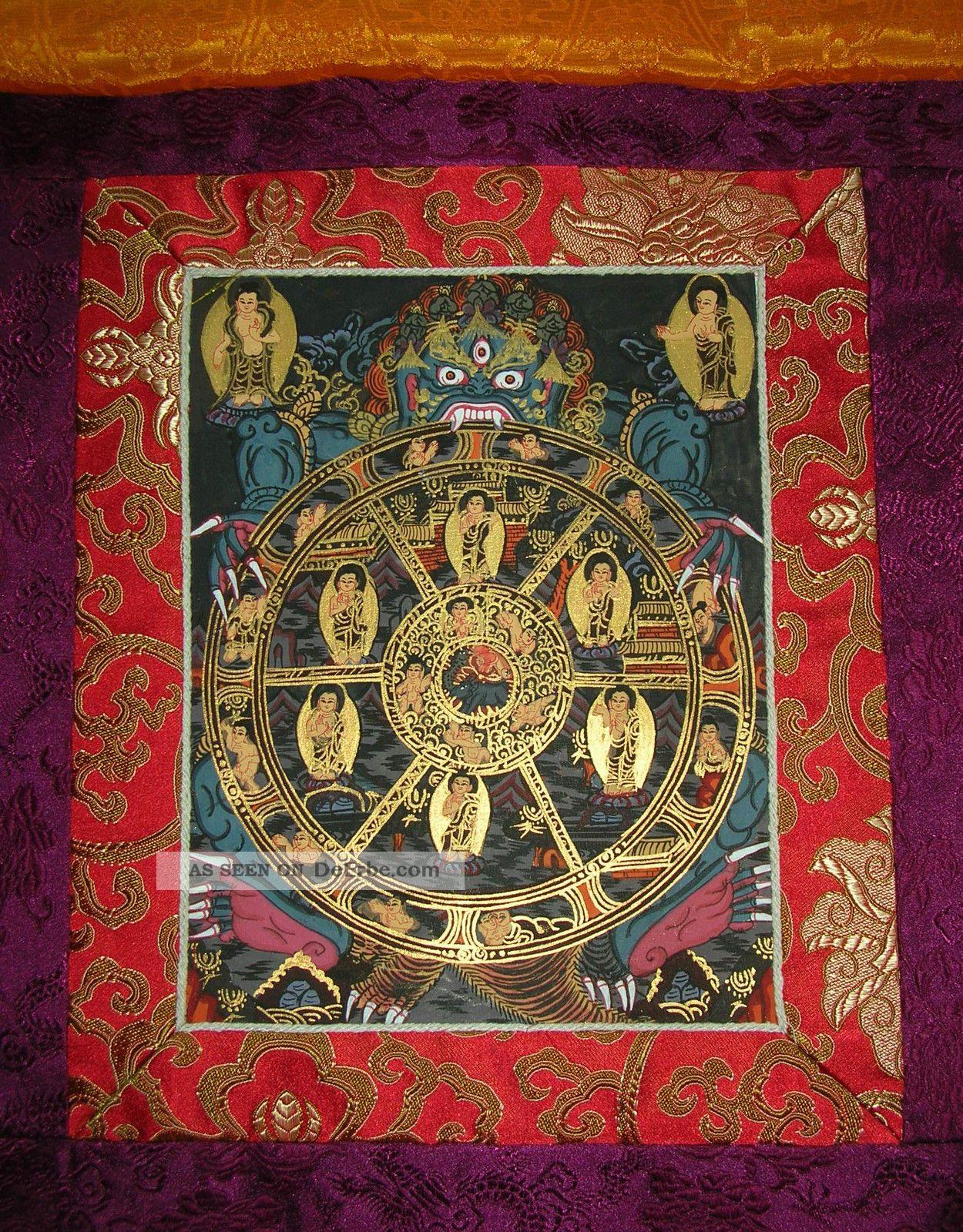 Buddha: Thangka Wheel Of Life Lebensrad In Brokat Aus Nepal