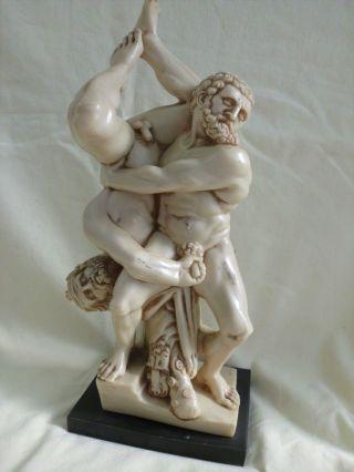 Figur Skulptur Plastik Antik Griechisch - Römisch Kämpfer Ringer Löwe?? Signiert Bild