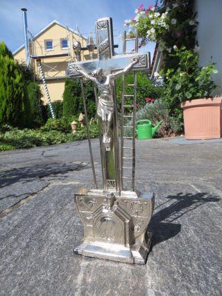 Sehr Altes Standkreuz Altarkreuz Hausaltar Metall Jugendstil 1900 Bild
