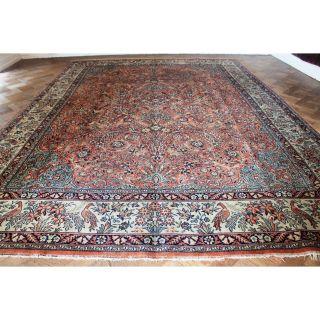 Gewebter Palast Orient Teppich Blumen Vögel Kum Nain Tappeto Carpet 400x300cm Bild