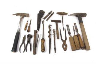 20x Zimmermann Werkzeug Ddr Holz Hammer Beitel Schlageisen Bohrer Zange Feile Bild