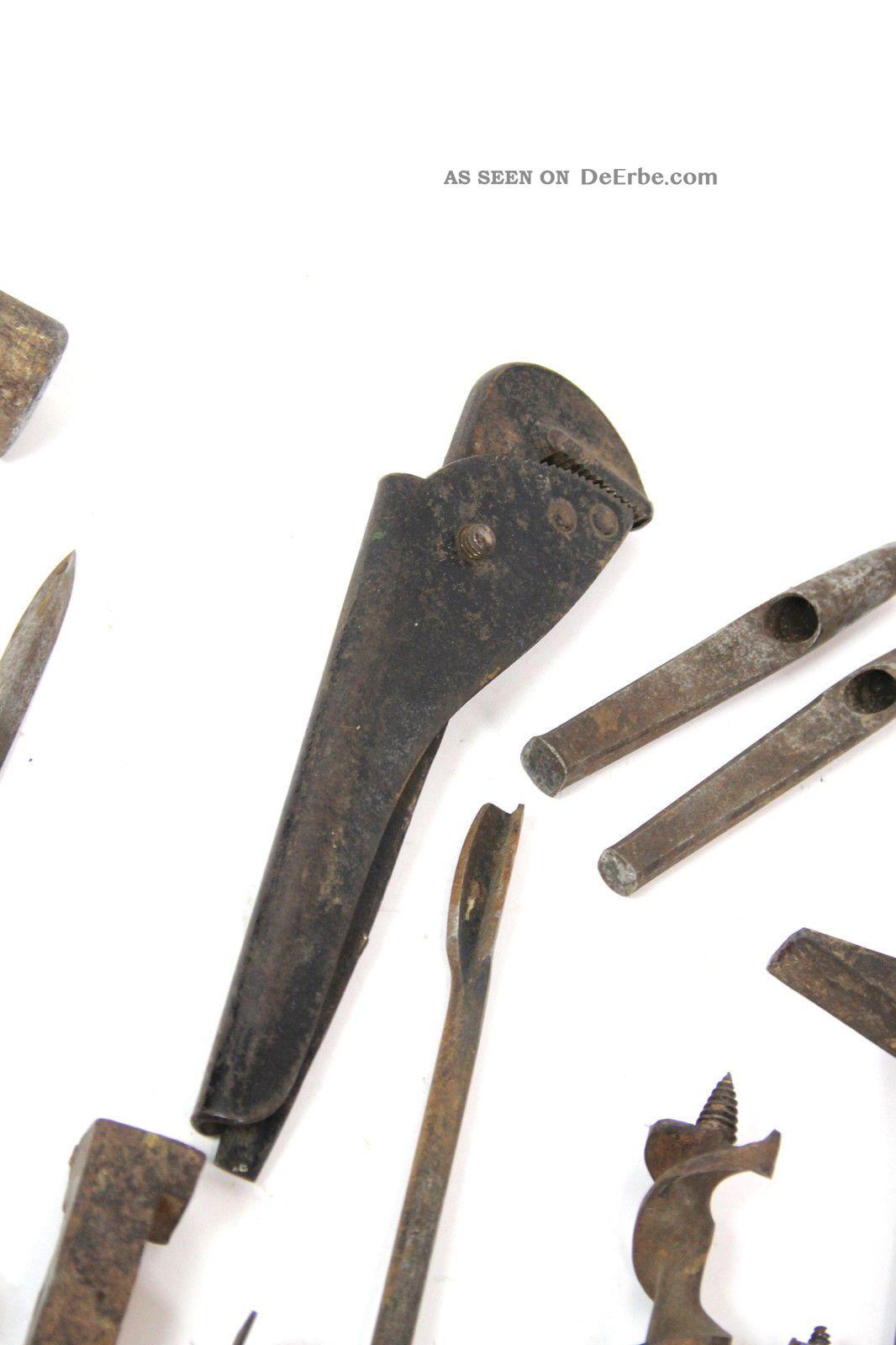 20x zimmermann werkzeug ddr holz hammer beitel schlageisen bohrer