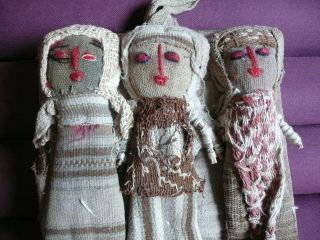 Ethno - Puppen Peru - Inka - Antike Stoffe - Rar Bild