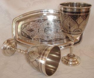 Russisches Weinset 2 Kelche Weinbecher Tablett Russland Niello 875 Silber 622 Gr Bild